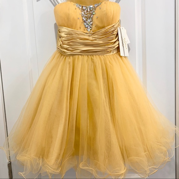 GLS Collective Dresses & Skirts - NWT Gold Strapless Sweetheart Beaded Tulle Dress